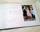 Wedding guest book for Polaroid photos size 4x6 - 50 photos,  50 fabrics, 10 Satin Ribbon Colors ,  Free Customized Monogram Card