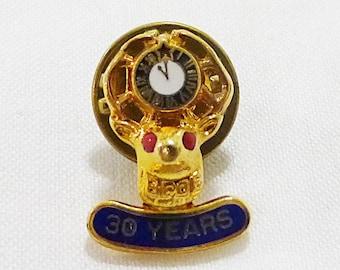 BPOE Elks club 30 Year pin clutch back club award gold tone vintage in box.
