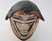 ceramic mask sculpture art clay face fine art wall decor