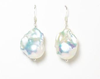 Large baroque flameball fireball white cultured pearl silver earrings