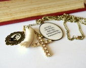 Halloween literary necklace, gothic, antique doll part, assemblage, sparkly, cross, Papadiamandis, quote jewelry, ooak, bronze gold.
