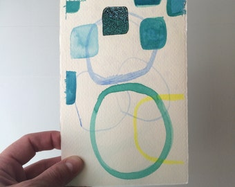 Painting : Teal // Blue // Yellow // Turquoise // small original abstract watercolor painting // daily doodle // tiny art // artwork //
