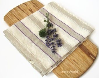Linen Dish Towel. Striped pure linen tea towel, washed, softened, wrinkled, flax towel, linen kitchen towels