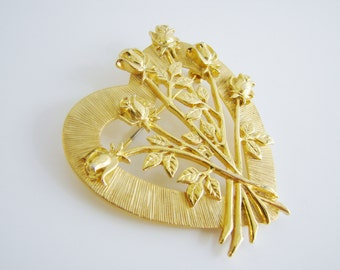 Vintage JJ gold heart and roses brooch- valentine (H10)