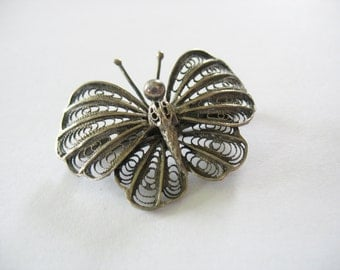 Filigree Butterfly Brooch Cannetille Sterling Silver 1950's