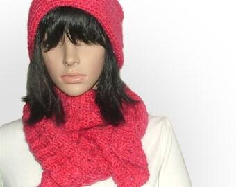 Crochet Beanie & Scarf Set Crochet Slouchy Hat in Watermelon Pink