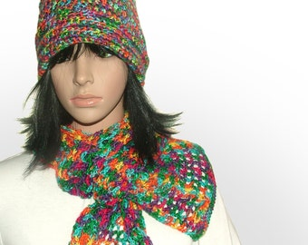 Crochet Rainbow Beanie & Scarf Set, Crochet Slouchy Hat, Lacey scarf in Variegated Multi-color