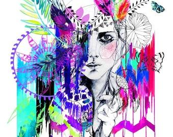 Tribal Girl - Mardi Gras edition // LIMITED EDITION Giclée print - fashion illustration by Holly Sharpe