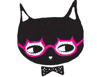 Superhero Cat Print Superhero Illustration Cat Art Print Kitten Wall Decor Glasses Bowtie Kitten Portrait Modern Black and White Art Poster