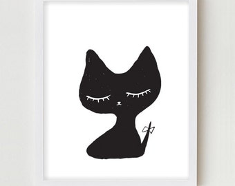 Cat Illustration Digital Art Print Simple Minimalist Black and White Cat Drawing Wall Art Digital Illustration Wall Decor Cat Print Poster