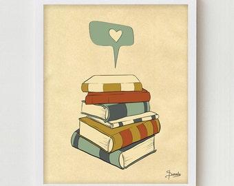 Book Print Art, 11x14 Books Poster Wall Decor, Book Reading Print Art, Reading Books Giclee Print, Reading Books Poster, Books Illustration