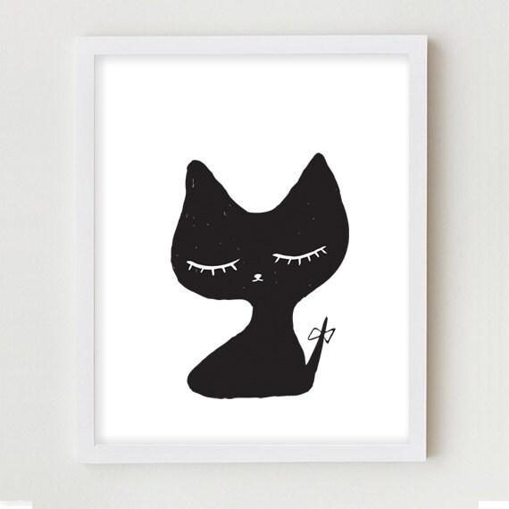 Simple Things Digital Painting: Cat Illustration Digital Art Print Simple Minimalist Black And