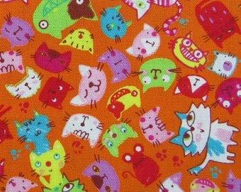 2623C -- Retro Cat Face Fabric in Crayon Orange , Cat , Paw , Mouse, Animal Fabric