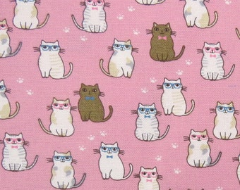 2638A -- Lovely Cats Wearing Glasses in Pink, Kawaii Cat Fabric