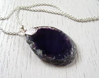Deep Purple Agate Slice Pendant Necklace