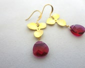 Pink Swarovski Crystal & Gold Flower Earrings