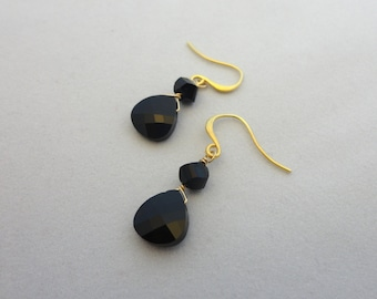 Jet Black Swarovski Crystal Earrings