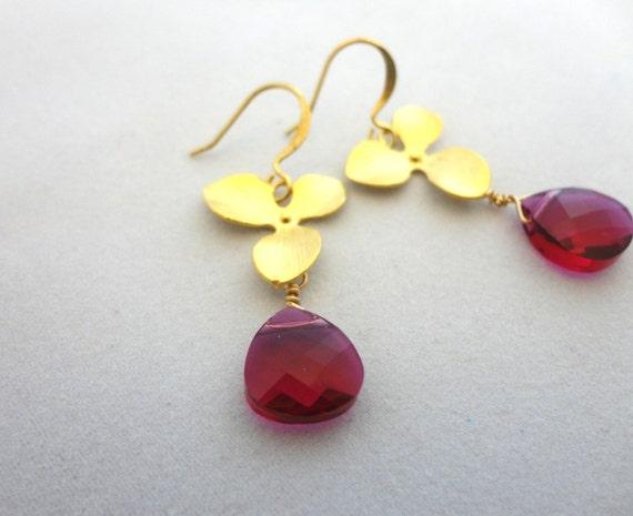 Pink Swarovski Crystal & Gold Flower Earrings