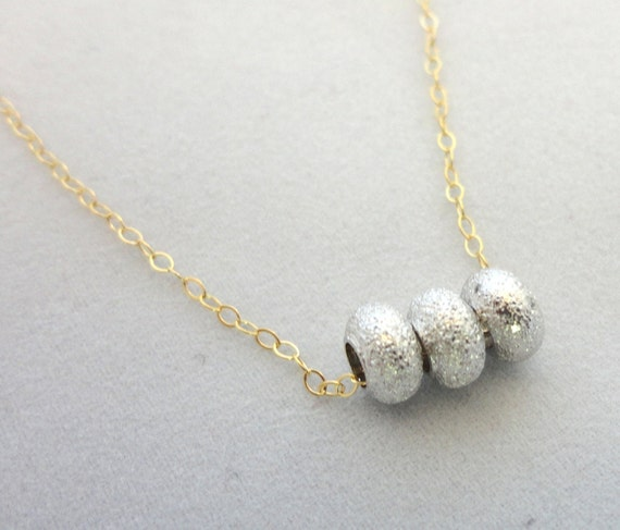 Silver Beads & 14k Gold Filled Chain Necklace