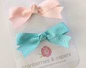 BIG Herringbone Bows- YOU choose color and clip style- Set of 2