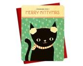 Kittymas Real Wood Holiday Card - Christmas Card - Wishing You Merry Kittymas - WC2212