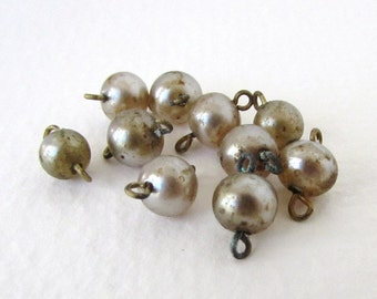 Vintage Pearl Beads Glass Drops Taupe Connector Links Wire Loops Japan vgp0349 (10)