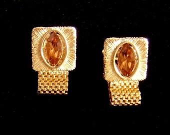 Vintage Men's gold tone wrap Cufflinks topaz marquise glass stone