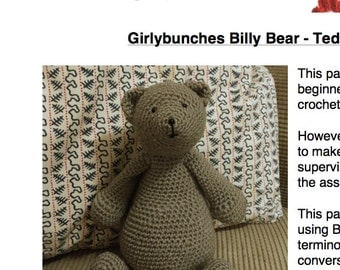 Girlybunches - Billy Bear Teddy Bear Crochet Pattern