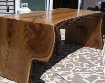 LIVE EDGE MULBERRY wood slab coffee table