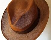 """23 1/4"""" - Vintage Genuine Hinoki Straw Men's Summer Hat"""