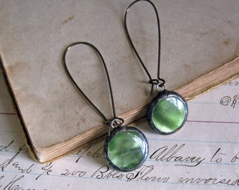 Button Earrings Upcycled Jewelry Long Arched Earwires