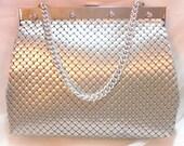 Vintage Matte Silvertone Metal Mesh Purse Handbag by Whiting & Davis