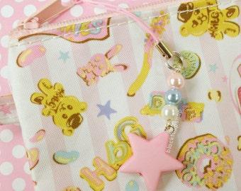 Pink Star Charm Pastel Kawaii Phone Charm Planner Accessories Zipper Pull Pearls Sweet Lolita Fairy Kei Bag Charms