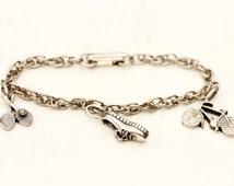 Vintage Silver Sports Charm Bracelet