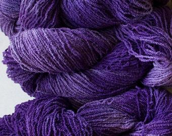 Organic Cotton Boucle, hand painted yarn,  225 yds - Grape