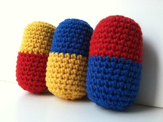 Amigurumi Crochet Dr. Mario Pills Plush Toy - Set of 3 Stuffed Dr. Mario Pills Nintendo Nerd Nintendo Plush Gift For Him Video Game Plush