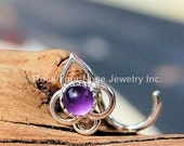 Lotus Flower Sterling Silver Nose Stud with Amethyst - CUSTOMIZE
