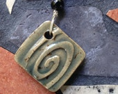 Smoky Blue Square Stoneware Pendant with Spiral Pattern