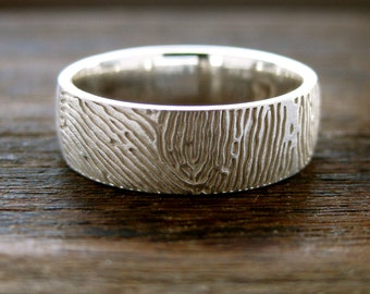Sterling Silver Finger Print Wedding Band with Custom Text Engraving and Brushed Finish Size 9