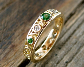 Tsavorite Wedding Ring in 18K Yellow Gold with Diamonds and Scroll Work Size 6