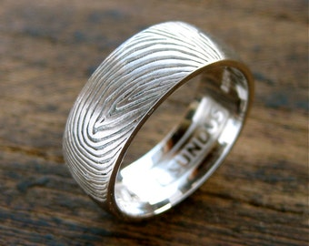 Cool Finger Print Wedding Band In Palladium with Custom Text Engraving and Brushed Finish Size 10