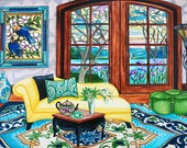At Print, Interior Still Life, Yellow Chaise Lounge, Stained Glass Doors, Lake, Print Carpet, k Madison Moore