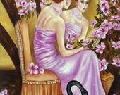 Original Oil Painting, by k Madison Moore, Black Swan Art, Cherry Blossom Trees, Pink Evening Gown, Woman Looking in Mirror