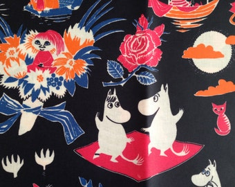 "Moomin blue black OIL CLOTH Fabric for various projects, half yard, 58"" wide"