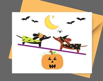 Halloween Dachshund Card -Teetering Spooky Doxies - Card with Envelope and Sticker