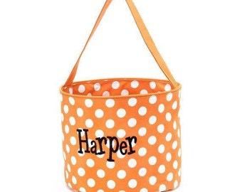 Personalized orange with white polka dots Halloween bucket