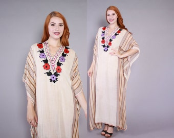 Vintage 70s CAFTAN DRESS / 1970s Embroidered Semi Sheer Gauze Ethnic Moroccan Kaftan Maxi Dress