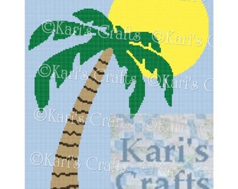 Palm Tree and Sun Afghan Blanket PDF Pattern Graph + Written Instructions - Instant Download