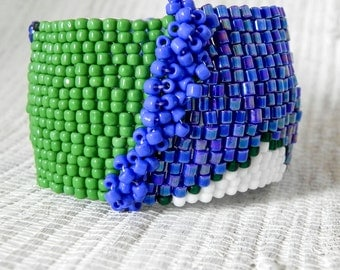 Bead Woven Cuff Bracelet - Apple Green, Cobalt Blue and White Wide Beaded Cuff Bracelet