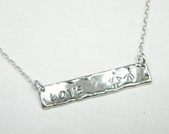 """Silver necklace for woman engraved necklace """"love"""""""